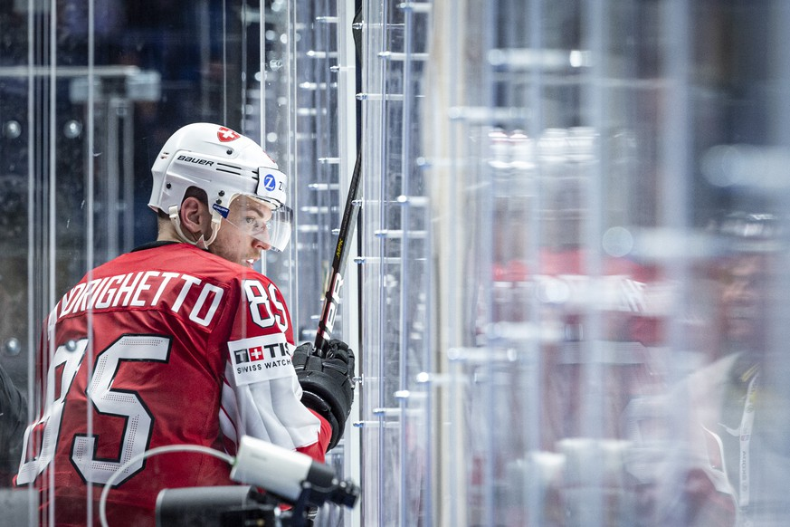 Switzerland`s Sven Andrighetto during the game between Switzerland and Austria, at the IIHF 2019 World Ice Hockey Championships, at the Ondrej Nepela Arena in Bratislava, Slovakia, on Thusday, May 14, 2019. (KEYSTONE/Melanie Duchene)