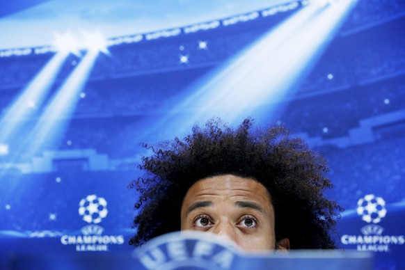 Real Madrid's Marcelo attends a news conference at Valdebebas sports grounds in Madrid, April 13, 2015. Real Madrid will play their Champions League quarterfinal first leg soccer match against Atletico Madrid at Vicente Calderon stadium on Tuesday. REUTERS/Susana Vera
