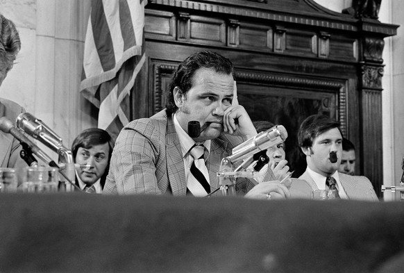 FILE - In this July 11, 1973, file photo, Fred Thompson listens to questions during the Senate Watergate Committee in Washington. Ten out of 11 members of Tennessee's congressional delegation signed on to legislation on Thursday, Sept. 22, 2016, to name a new federal courthouse in Nashville, Tenn., after the late actor-politician. (AP Photo, file)