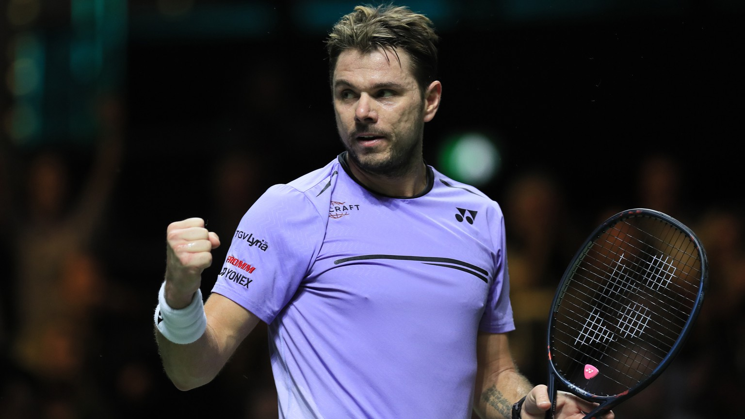 Stan Wawrinka of Switzerland clenches his fist after scoring a point against Gael Monfils of France in the men's singles final of the ABN AMRO world tennis tournament at Ahoy Arena in Rotterdam, Netherlands, Sunday, Feb. 17, 2019. (AP Photo/Peter Dejong)