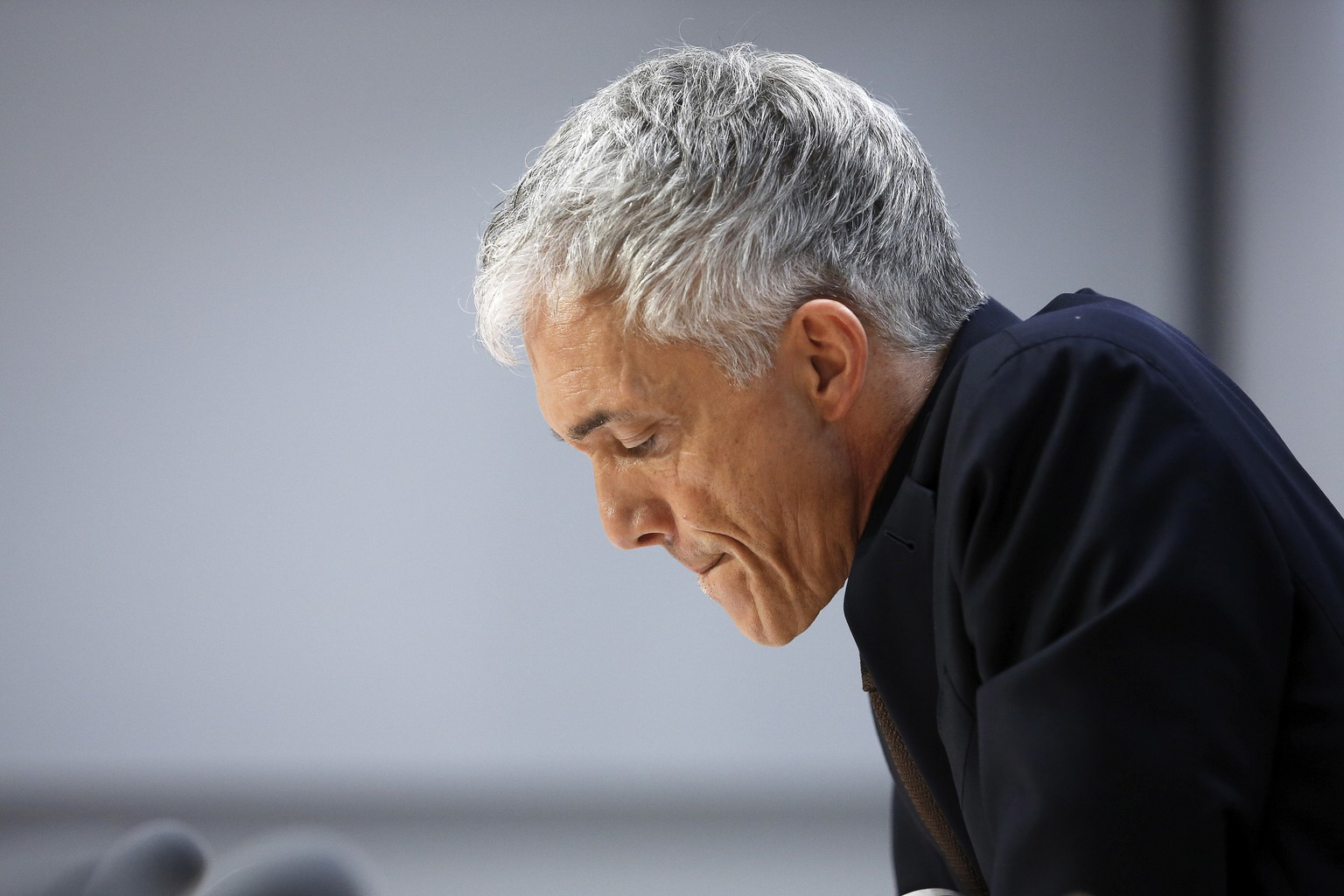 epa07561031 Swiss Federal Attorney Michael Lauber attends a press conference at the Media Centre of the Federal Parliament in Bern, Switzerland, 10 May 2019. Federal Attorney Michael Lauber is criticised for informal meetings with FIFA head Gianni Infantino. The supervisory authority for the Federal Prosecutor's Office is opening a disciplinary investigation against Lauber.  EPA/PETER KLAUNZER