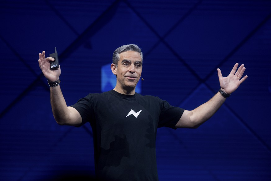 David Marcus, Facebook vice president for messaging products, speaks at his company's annual F8 developer conference, Tuesday, April 18, 2017, in San Jose, Calif. (AP Photo/Noah Berger)