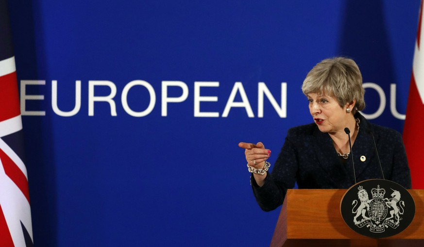 British Prime Minister Theresa May speaks during a media conference at an EU summit in Brussels, Friday, March 22, 2019. Worn down by three years of indecision in London, EU leaders on Thursday were grudgingly leaning toward giving the U.K. more time to ease itself out of the bloc. (AP Photo/Frank Augstein)