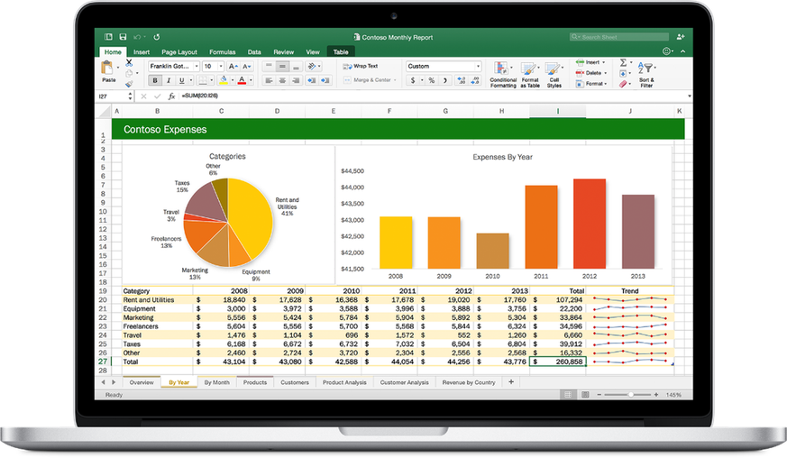 Office 2016 für den Mac, Excel