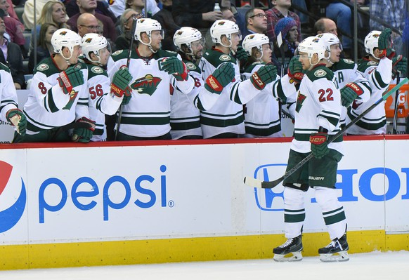 Minnesota Wild's Nino Niederreiter (22) celebrates a goal against the Colorado Avalanche in the third period during Game 7 of an NHL hockey first-round playoff series on Wednesday, April 30, 2014, in Denver. (AP Photo/Jack Dempsey)