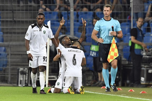 Ludogorets' Virgil Misidjan, Cafu and Natanael, from left, celebrate their scores to 1-0 during an UEFA Champions League Group stage Group A matchday 1 soccer match between Switzerland's FC Basel 1893 and Bulgaria's PFC Ludogorets Razgrad in the St. Jakob-Park stadium in Basel, Switzerland, on Tuesday, September 13, 2016. (KEYSTONE/Peter Schneider)