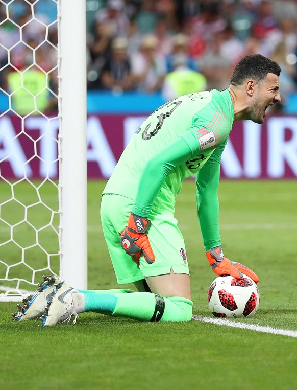 epa06872585 Croatia's goalkeeper Danijel Subasic reacts after picking up an injury during the FIFA World Cup 2018 quarter final soccer match between Russia and Croatia in Sochi, Russia, 07 July 2018.  (RESTRICTIONS APPLY: Editorial Use Only, not used in association with any commercial entity - Images must not be used in any form of alert service or push service of any kind including via mobile alert services, downloads to mobile devices or MMS messaging - Images must appear as still images and must not emulate match action video footage - No alteration is made to, and no text or image is superimposed over, any published image which: (a) intentionally obscures or removes a sponsor identification image; or (b) adds or overlays the commercial identification of any third party which is not officially associated with the FIFA World Cup)  EPA/FRIEDEMANN VOGEL   EDITORIAL USE ONLY