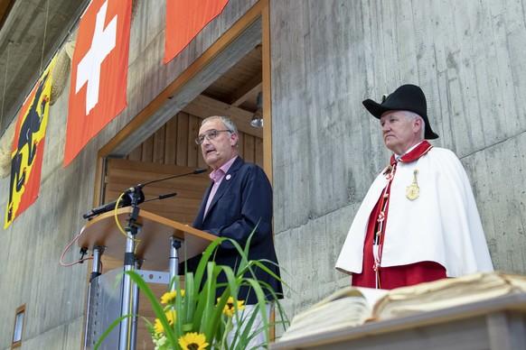 Bundespraesident Guy Parmelin waehrend seiner 1. Augustansprache an der 1. Augustfeier in Herzogenbuchsee, am Samstag, 31. Juli 2021. (KEYSTONE/Marcel Bieri)