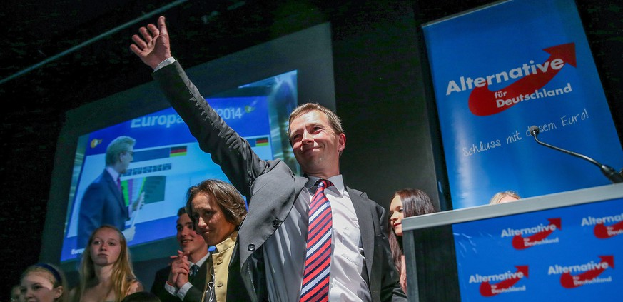 Alternative for Germany (AfD) party founder and main candidate Bernd Lucke celebrates after exit polls were announced on public television on May 25, 2014 in Berlin. The anti-euro Alternative for Germany (AfD), founded last year, won 6.5 percent to make its entry into the European parliament, said public broadcasters ARD and ZDF. AFP PHOTO / DPA / HANNIBAL HANSCHKE     +++ GERMANY OUT +++