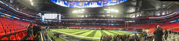 epa07330650 A panoramic photograph shows the interior of Mercedes-Benz Stadium as preparations for Super Bowl LIII continue in Atlanta, Georgia, USA, 29 January 2019. The AFC Champion New England Patriots and the NFC Champion Los Angeles Rams will face off in Super Bowl LIII at Mercedes-Benz Stadium on 03 February.  EPA/TANNEN MAURY