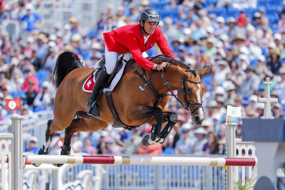 epa07042080 Steve Guerdat of Switzerland competes aboard Bianca during the final round of the individual Jumping Championship on the final day of the FEI World Equestrian Games 2018 at the Tryon International Equestrian Center in Mill Spring, North Carolina, USA, 23 September 2018. Guerdat won the individual bronze medal.  EPA/ERIK S. LESSER