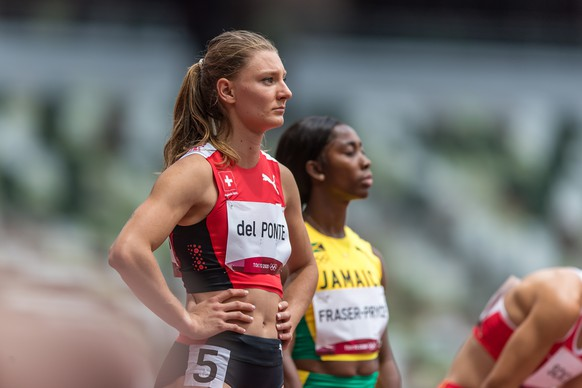 Ajla Del Ponte  (SUI) waits for the start into the women's 100m first round at the Olympic Games in Tokyo, on Friday, July 30, 2021 (KEYSTONE/ATHLETIX.CH/ULF SCHILLER)