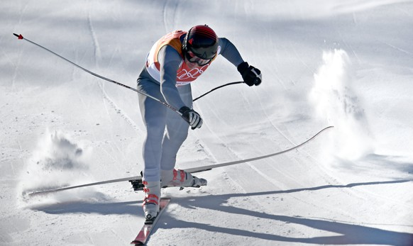 epa06519433 Pavel Trikhichev of the Olympic Athlete from Russia (OAR) in action moments before crashing during the Downhill portion of the Men's Alpine Combined race at the Jeongseon Alpine Centre during the PyeongChang 2018 Olympic Games, South Korea, 13 February 2018.  EPA/CHRISTIAN BRUNA
