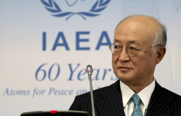 Director General of the International Atomic Energy Agency, IAEA, Yukiya Amano of Japan addresses the media during a news conference after a meeting of the IAEA board of governors at the International Center in Vienna, Austria, Thursday, Nov. 17, 2016. (AP Photo/Ronald Zak)