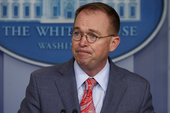 White House chief of staff Mick Mulvaney announces that the G7 will be held at Trump National Doral, Thursday, Oct. 17, 2019, in Washington. (AP Photo/Evan Vucci) Mick Mulvaney