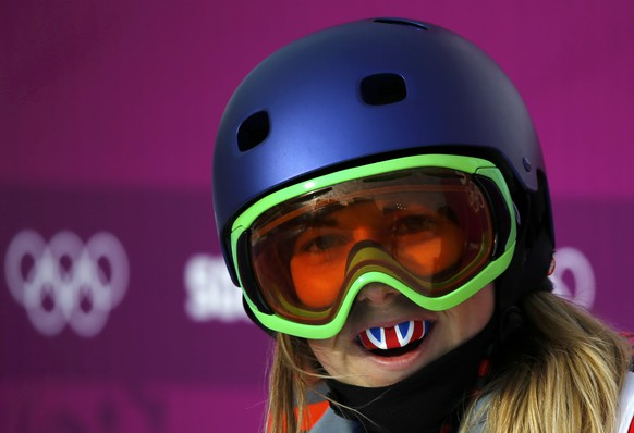 Britain's  Katie Summerhayes reacts at the finish line during the women's freestyle skiing slopestyle qualification event at the 2014 Sochi Winter Olympic Games in Rosa Khutor February 11, 2014. REUTERS/Mike Blake (RUSSIA  - Tags: SPORT SKIING OLYMPICS)