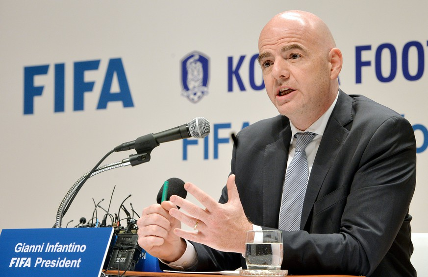 FIFA President Gianni Infantino speaks during a news conference in Seoul, South Korea, April 27, 2016.  News1/Park Se-yeon/via REUTERS   ATTENTION EDITORS - THIS IMAGE WAS PROVIDED BY A THIRD PARTY. FOR EDITORIAL USE ONLY. NO RESALES. NO ARCHIVE. SOUTH KOREA OUT.