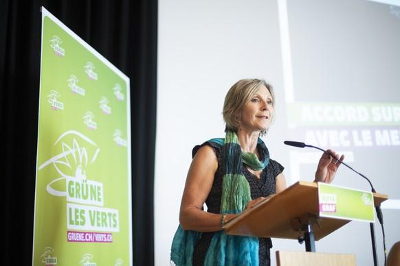 Maya Graf, Nationalraetin Basel-Land, an der Delegiertenversammlung der Gruene Schweiz, am Samstag, 31. August 2019, in Rapperswil-Jona. (KEYSTONE/Gian Ehrenzeller)