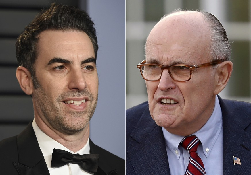 Sacha Baron Cohen arrives at the Vanity Fair Oscar Party in Beverly Hills, Calif., on March 4, 2018, left, and  former New York Mayor Rudy Giuliani at the Trump National Golf Club Bedminster clubhouse in Bedminster, N.J. on Nov. 20, 2016. Giuliani appears in a scene in the new â??Boratâ? film. The scene, which was filmed in a New York hotel room in July, resulted in Giuliani calling police. (AP Photo)