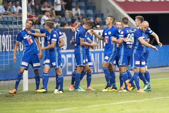 Die Luzerner feiern das 1:1 mit Shkelkim Damhasaj, links, beim Super League Meisterschaftsspiel zwischen dem FC Luzern und dem FC Lugano vom Samstag 4. August 2018 in Luzern. (KEYSTONE/Urs Flueeler)