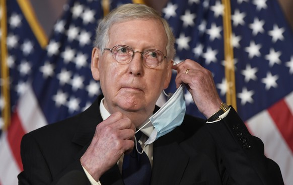 Senate Majority Leader Mitch McConnell of Ky., listens to a question during a news conference on Capitol Hill in Washington, Monday, July 27, 2020, to highlight the new Republican coronavirus aid package. (AP Photo/Susan Walsh) Mitch McConnell