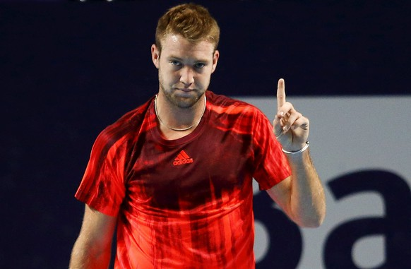 Jack Sock of the U.S. gestures during his match against compatriot John Isner at the Swiss Indoors ATP men's tennis tournament in Basel, Switzerland October 29, 2015.   REUTERS/Arnd Wiegmann