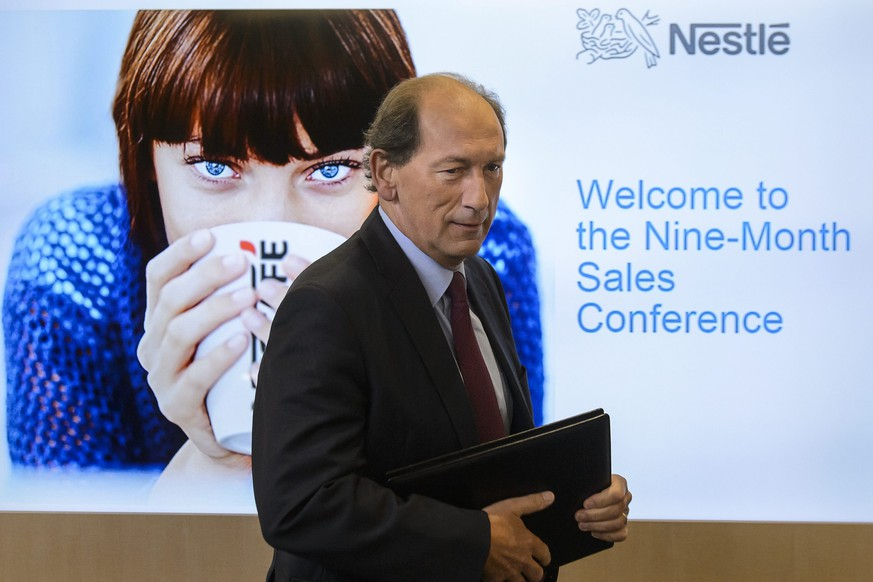 epaselect epa04979332 Nestle CEO, Paul Bulcke looks on as he arrives during the nine-month sales press conference of food giant Nestle Group, in Vevey, Switzerland, 16 October 2015. Nestle's organic growth slowed down to 4.2 percent in the first nine-month from 4.5 percent in the half-year, losing its five percent organic growth target for 2015. Nestle, for the third consecutive year, fell short of its long-term growth objective due to unstable conditions in emerging markets affecting European consumer-product companies and retailers, media reported.  EPA/JEAN-CHRISTOPHE BOTT