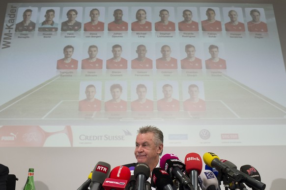 13.05.2014; Zuerich; Fussball WM MK Ottmar; Trainer Ottmar Hitzfeld gibt das WM Kader bekannt (Valeriano Di Domenico/freshfocus)
