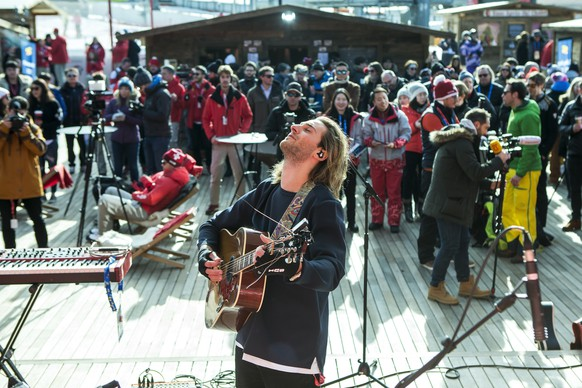 Swiss snowboarder Patrick Burgener performs during his concert at the House of Switzerland at the XXIII Winter Olympics 2018 in Pyeongchang, South Korea, on Thursday, February 15, 2018. (KEYSTONE/Alexandra Wey)