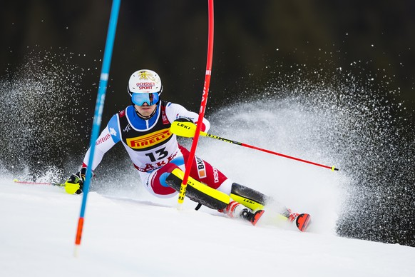 Loic Meillard of Switzerland in action during the first run of the men Slalom race at the 2019 FIS Alpine Skiing World Championships in Are, Sweden Sunday, February 17, 2019. (KEYSTONE/Jean-Christophe Bott)