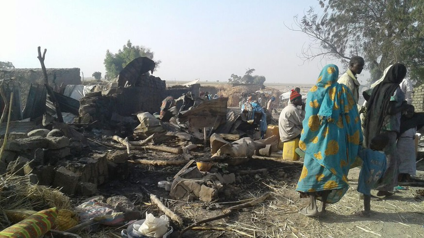 epa05727274 A handout photo made available by Medecins Sans Frontieres (MSF) shows the aftermath of a bombing allegedly carried out by the Nigerian Army at a government-run camp for internally displaced persons in Rann, Nigeria, 17 January 2017 (issued 18 January 2017). According to medical charity MSF (Doctors Without Borders), at least 52 people were killed and some 200 injured in what is believed to be an accidential aerial bombing by a Nigerian Army fighter jet targeting Boko Haram militants.  EPA/MSF HANDOUT MANDATROY CREDIT: MSF. HANDOUT EDITORIAL USE ONLY/NO SALES