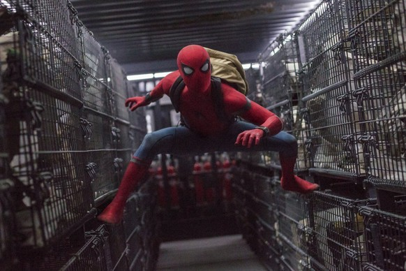 This image released by Columbia Pictures shows Tom Holland in a scene from