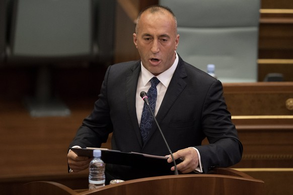 epa06194900 Leader of the Alliance for Future of Kosovo (AAK), Ramush Haradinaj, holds a speech during the parliamentary session to elect the new Prime Minister of the Republic of Kosovo in Pristina, Kosovo, 09 September 2017. Ramush Haradinaj was elected the new Prime Minister of the Republic of Kosovo during the session. The 49-year-old Haradinaj served as prime minister for three months from December 2004 to March 2005.  EPA/VALDRIN XHEMAJ