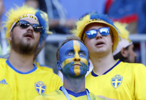 Sweden fans wait the quarterfinal match between Sweden and England at the 2018 soccer World Cup in the Samara Arena, in Samara, Russia, Saturday, July 7, 2018. (AP Photo/Alastair Grant)