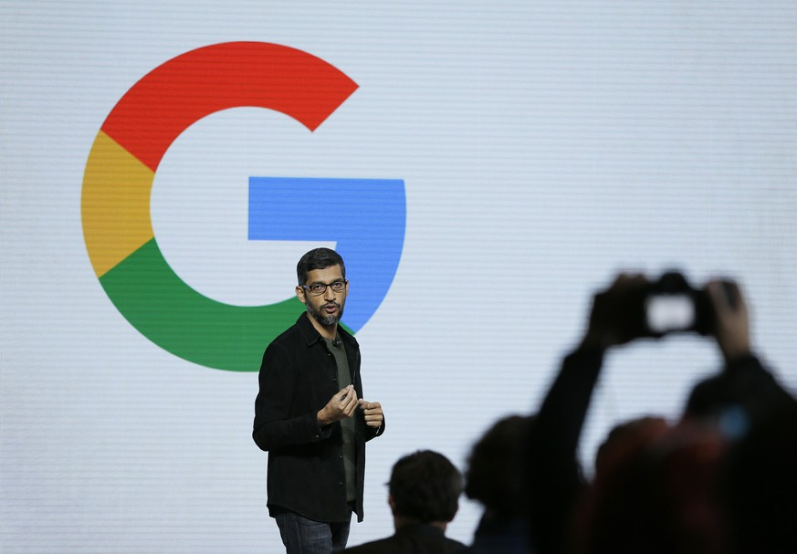 FILE - In this Tuesday, Oct. 4, 2016, file photo, Google CEO Sundar Pichai speaks during a product event in San Francisco. Pichai has declared artificial intelligence more important to humanity than fire or electricity. And yet the search giant is increasingly having to deal with messy people problems: from the need for human checkers to catch rogue YouTube posters and Russian bots to its efforts to house its burgeoning workforce in pricey Silicon Valley. (AP Photo/Eric Risberg, File)