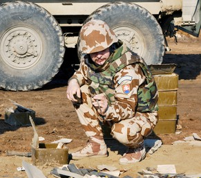 A Slovakian army soldier assigned to the Engineer Unit gathers ammunition rounds at a destruction site on the outskirts of the southern Iraqi city of Diwaniya, in this photograph released on February 7, 2005. As part of the Multi-National Division currently serving in Iraq, members of the Slovakian Engineer Unit who are mainly destroying ordnance and maintain security in south central Iraq. REUTERS/HO/US Army/Sgt. Jose M. Hernandez  HH/AA - RTRMR6W