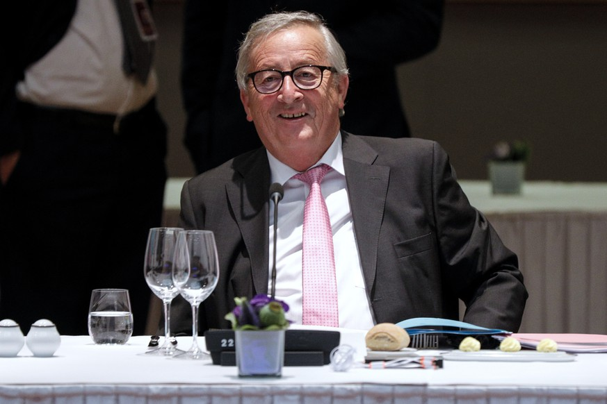 European Commission President Jean-Claude Juncker during a round table meeting at an EU summit in Brussels, Sunday, June 30, 2019. European Union leaders have started another marathon session of talks desperately seeking a breakthrough in a diplomatic fight over who should be picked for a half dozen of jobs at the top of EU institutions. (Geoffroy Van Der Hasselt, Pool Photo via AP)