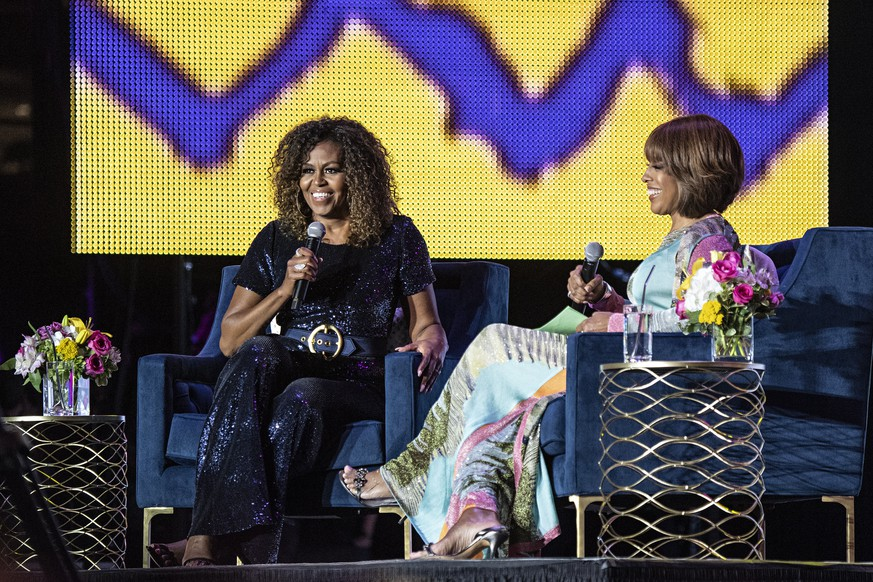 Michelle Obama and Gayle King participate in the 2019 Essence Festival at the Mercedes-Benz Superdome, Saturday, July 6, 2019, in New Orleans. (Photo by Amy Harris/Invision/AP) Michelle Obama,Gayle King