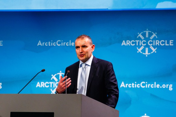 epa06263431 President of Iceland Gudni Thorlacius Johannesson speaks at the 5th Arctic Circle conference in Reykjavik, Iceland, 13 October 2017. The Arctic Circle is the largest network of international dialogue and cooperation on the future of the Arctic. It is an open democratic platform with participation from governments, organizations, corporations, universities, think tanks, environmental associations, indigenous communities, concerned citizens, and others interested in the development of the Arctic and its consequences for the future of the globe. It is a nonprofit and nonpartisan organization.  EPA/BIRGIR THOR HARDARSON