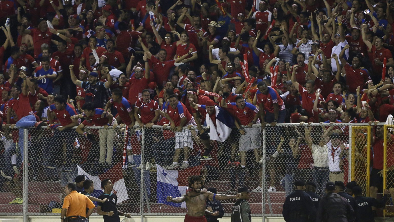 Panama's Roman Torres, below, celebrates his goal against Costa Rica at a 2018 Russia World Cup qualifying soccer match in Panama City, Tuesday, Oct. 10, 2017. (AP Photo/Arnulfo Franco)