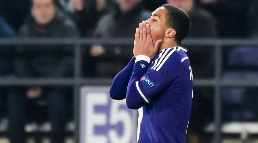 RSC Anderlecht player Youri Tielemans reacts after missing a chance to score against Dynamo Moscow during their Europa League Round of 32 first leg match at Constant Vanden Stock Stadium in Brussels on Thursday Feb. 19, 2015. (AP Photo/Geert Vanden Wijngaert)
