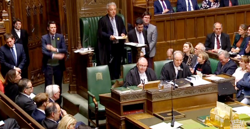 epa07479172 A grab from a handout video made available by the UK Parliamentary Recording Unit shows Speaker of the House of Commons, John Bercow annoucing the result of voting by British Members of Parliament after voting on Motion C, D, E and G in the House of Commons in Westminster, central London, Britain, 01 April 2019. British Members of Parliament are taking part in indicative votes on alternative versions for Brexit with Prime Minister Theresa May's cabinet ministers again instructed to boycott the indicative votes.  EPA/UK PARLIAMENTARY RECORDING UNIT MANDATORY CREDIT: UK PARLIAMENTARY RECORDING UNIT HANDOUT EDITORIAL USE ONLY/NO SALES