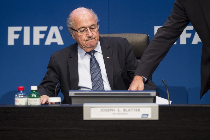 FILE --- FIFA President Joseph Blatter speaks during a press conference following the FIFA Executive Committee meeting in Zurich, Switzerland, on Saturday, May 30, 2015. Swiss television news broadcast