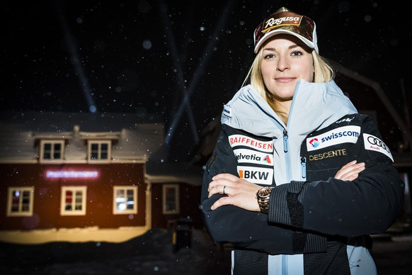 Lara Gut-Behrami of Switzerland, poses for photographer during a press conference of the Swiss-Ski federation at the 2019 FIS Alpine Skiing World Championships in Are, Sweden Sunday, February 3, 2019. (KEYSTONE/Jean-Christophe Bott)