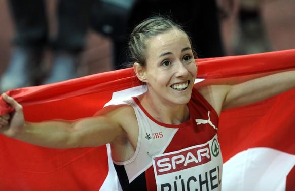 08.03.2015; Prag; Leichtathletik - Hallen-EM Prag 2015 - 800m Frauen - Final; Selina Buechel (SUI) jubelt nach ihrem Sieg (Margarita Bouma/VI-Images/freshfocus)