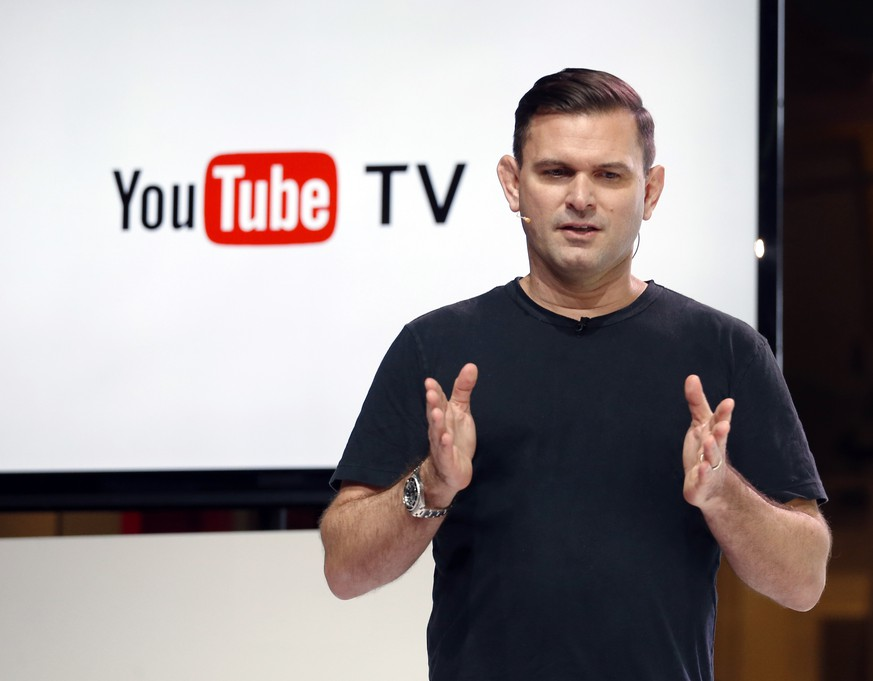 Christian Oestlien, director of product management at YouTube, speaks during the introduction of YouTube TV at YouTube Space LA in Los Angeles, Tuesday, Feb. 28, 2017. People fed up with paying for cable the traditional way will soon be able to subscribe to it from YouTube. The Google-owned site known for cat videos and do-it-yourself makeup tutorials is the latest company to offer a version of cable that looks and feels more like Netflix. (AP Photo/Reed Saxon)