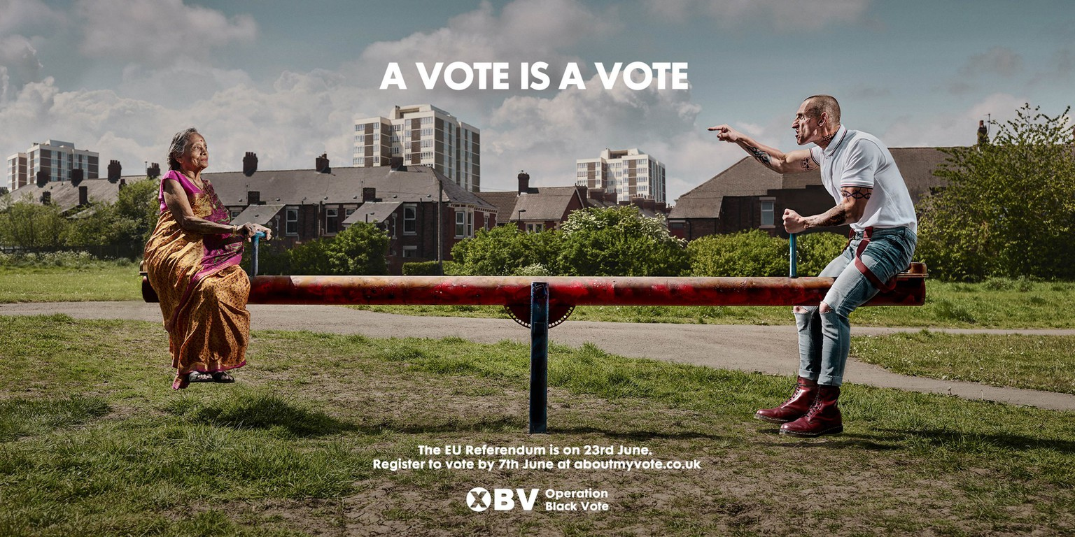 Undated handout image issued by Operation Black Vote (OBV) of their new poster campaign to encourage the BAME communities to register to vote in the EU Referendum, the poster is part of OBVís national consultation with the BAME community on the subject of Europe.  PRESS ASSOCIATION Photo. Issue date: Wednesday May 25, 2016. The image of a sari-clad Asian woman exactly balanced on a see-saw with a shaven-headed