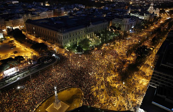 Anti-austerity demonstrators crowd into Colon square as they take part in a demonstration which organisers have labeled the