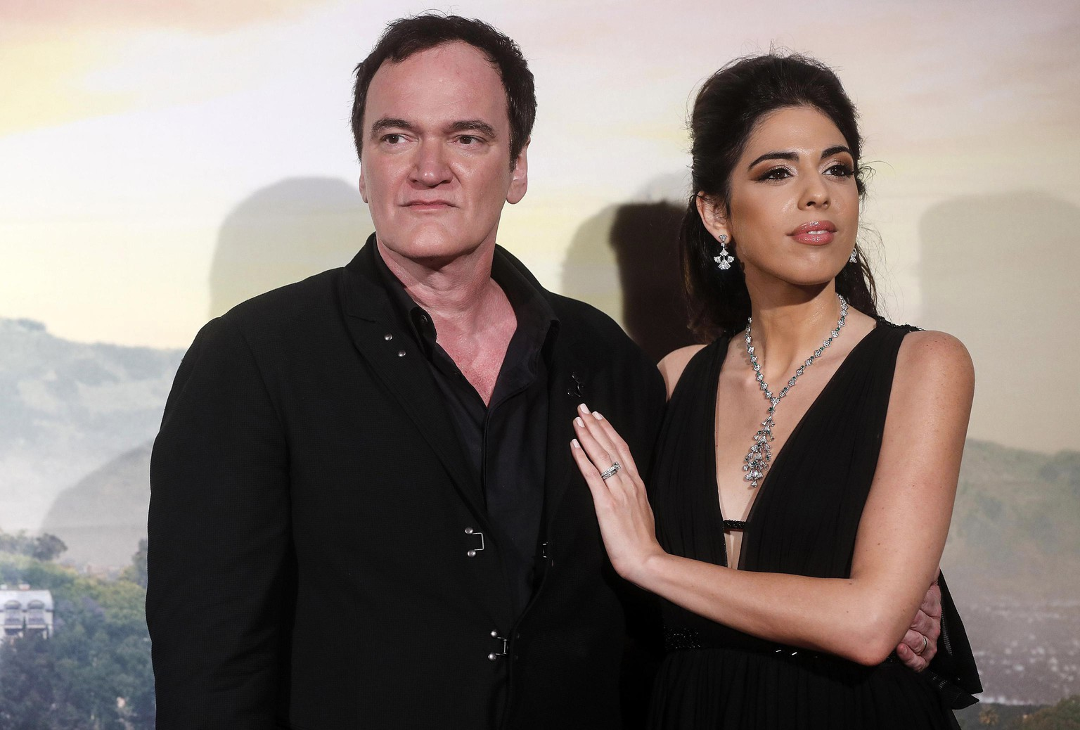 U. S. filmmaker Quentin Tarantino, left, with his wife Daniella Pick, right, attends the Italian Premiere and red carpet of the movie