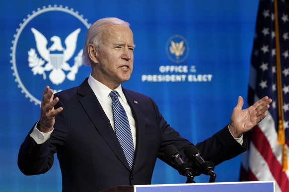 President-elect Joe Biden speaks during an event at The Queen theater in Wilmington, Del., Thursday, Jan. 7, 2021, to announce key nominees for the Justice Department. (AP Photo/Susan Walsh) Joe Biden
